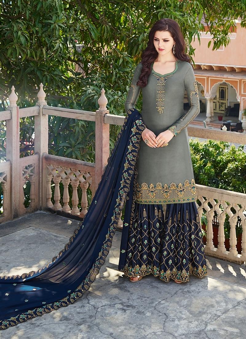 Grey and Navy Blue Satin Georgette Sharara Salwar Kameez
