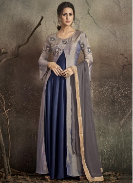 Grey and Navy Blue Tafeta Silk Embroidered Work Layered Designer Gown