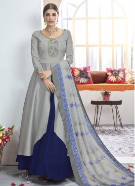 Grey and Navy Blue Tafeta Silk Readymade Designer Salwar Suit