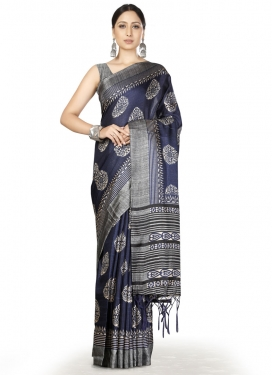 Grey and Navy Blue Traditional Designer Saree