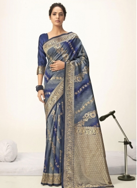 Grey and Navy Blue Woven Work Art Silk Designer Contemporary Style Saree