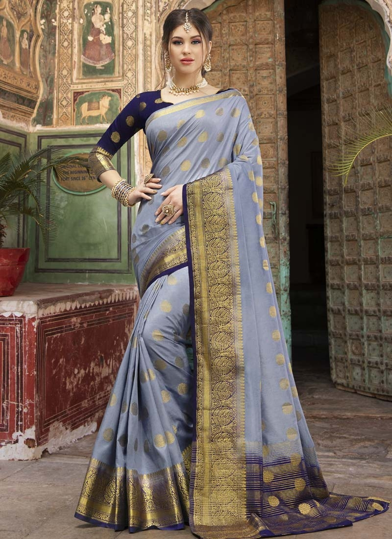 Grey and Navy Blue Woven Work Nylon Silk Designer Traditional Saree