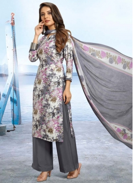 Grey and Off White Palazzo Salwar Kameez