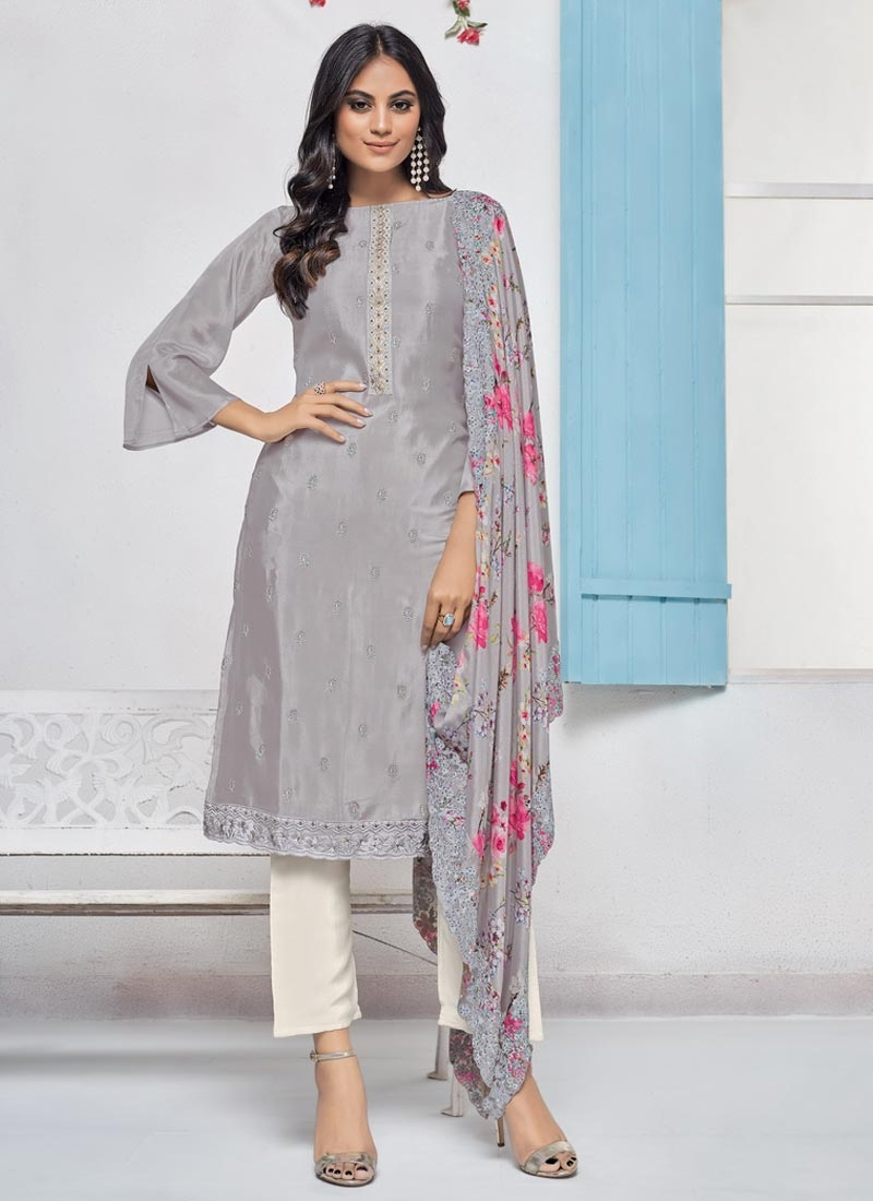Grey and Off White Pant Style Classic Salwar Suit