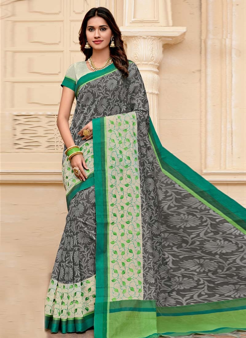 Grey and Off White Trendy Classic Saree