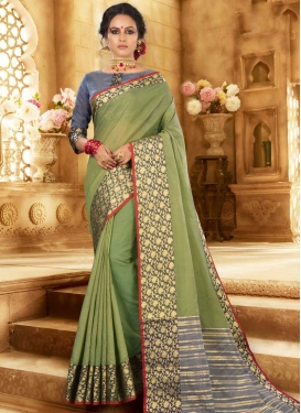 Grey and Olive Designer Contemporary Style Saree For Casual