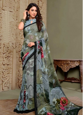 Grey and Olive Digital Print Work Designer Contemporary Saree
