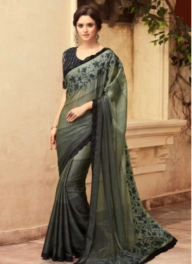Grey and Olive Embroidered Work Classic Designer Saree