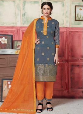 Grey and Orange Art Silk Pant Style Classic Salwar Suit For Casual