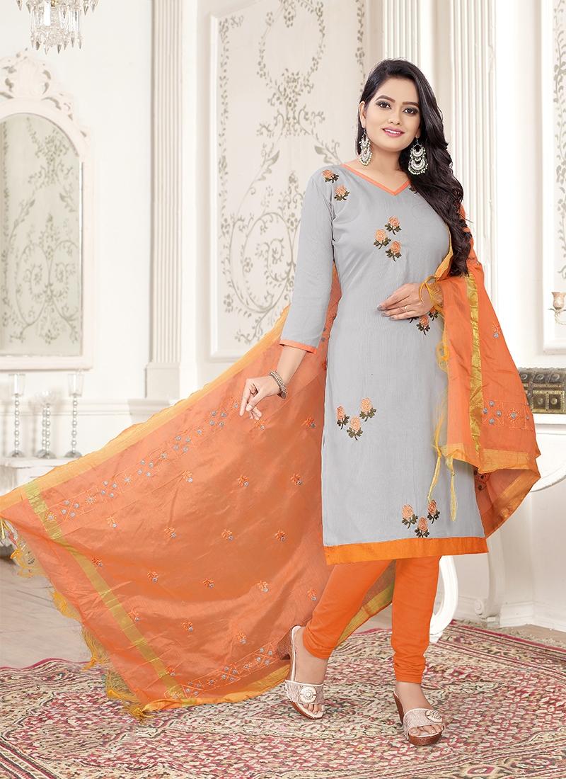 Grey and Orange Casual Churidar Designer Suit