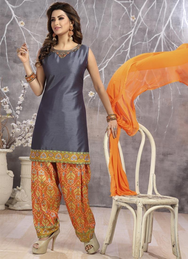 Grey and Orange Cotton Silk Readymade Salwar Kameez