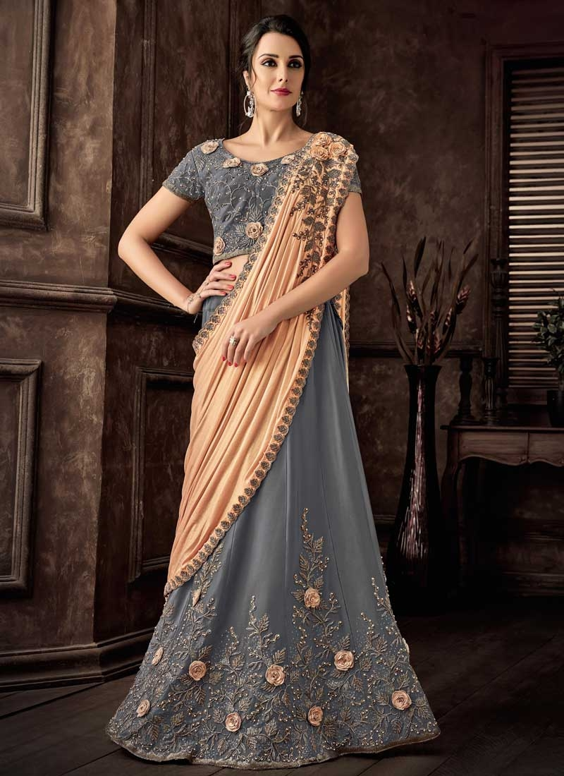 Grey and Peach Beads Work Designer Lehenga Style Saree