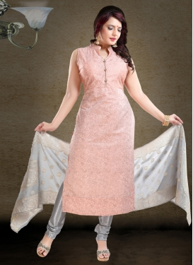 Grey and Peach Digital Print Work Chanderi Silk Readymade Churidar Salwar Kameez