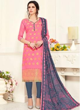 Grey and Pink Art Silk Trendy Churidar Salwar Suit