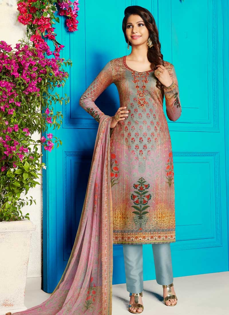Grey and Pink Crepe Silk Pant Style Straight Salwar Suit