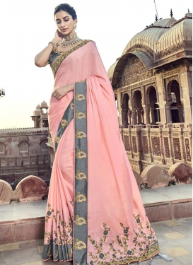 Grey and Pink Embroidered Work Designer Traditional Saree