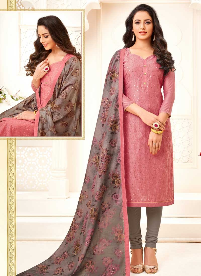 Grey and Pink Embroidered Work Trendy Churidar Suit