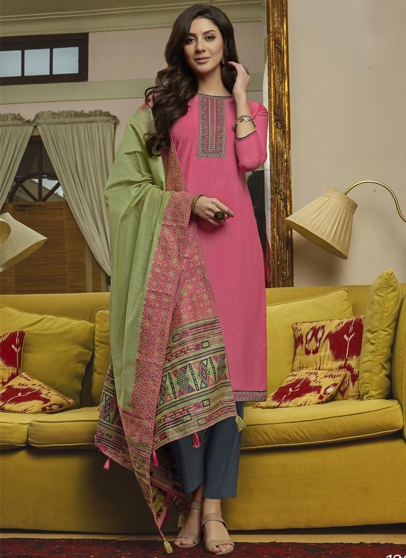 Grey and Pink Maslin Pant Style Classic Salwar Suit