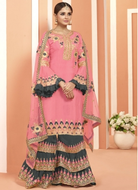 Grey and Pink Palazzo Straight Salwar Kameez For Ceremonial