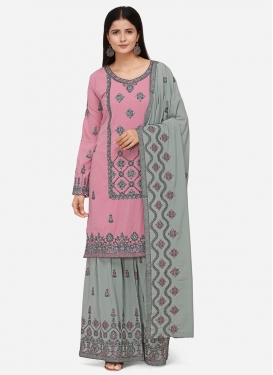 Grey and Pink Sharara Salwar Kameez For Party