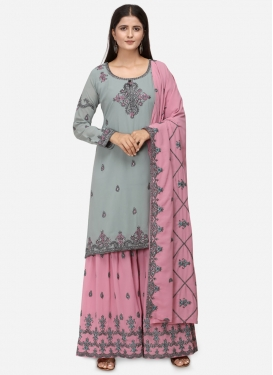 Grey and Pink Sharara Salwar Suit