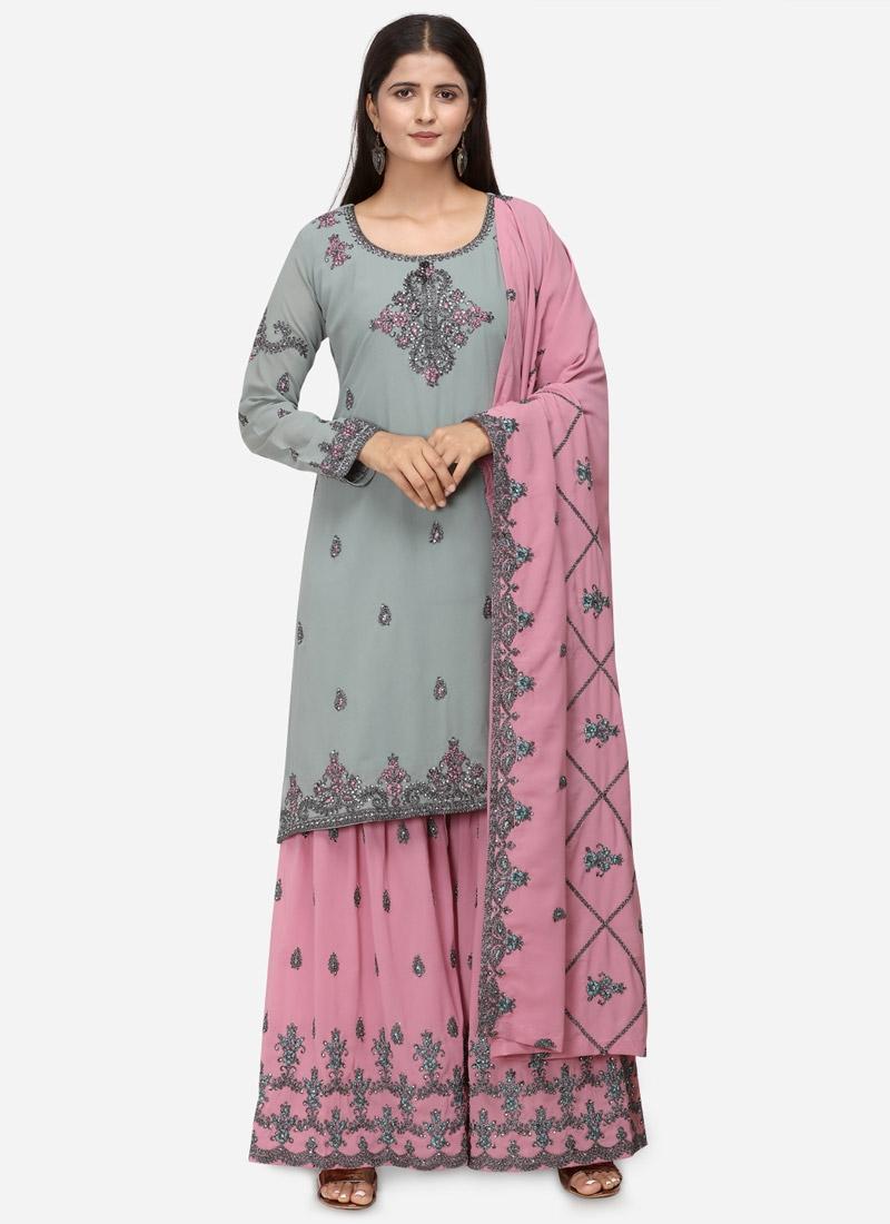 Grey and Pink Sharara Salwar Suit