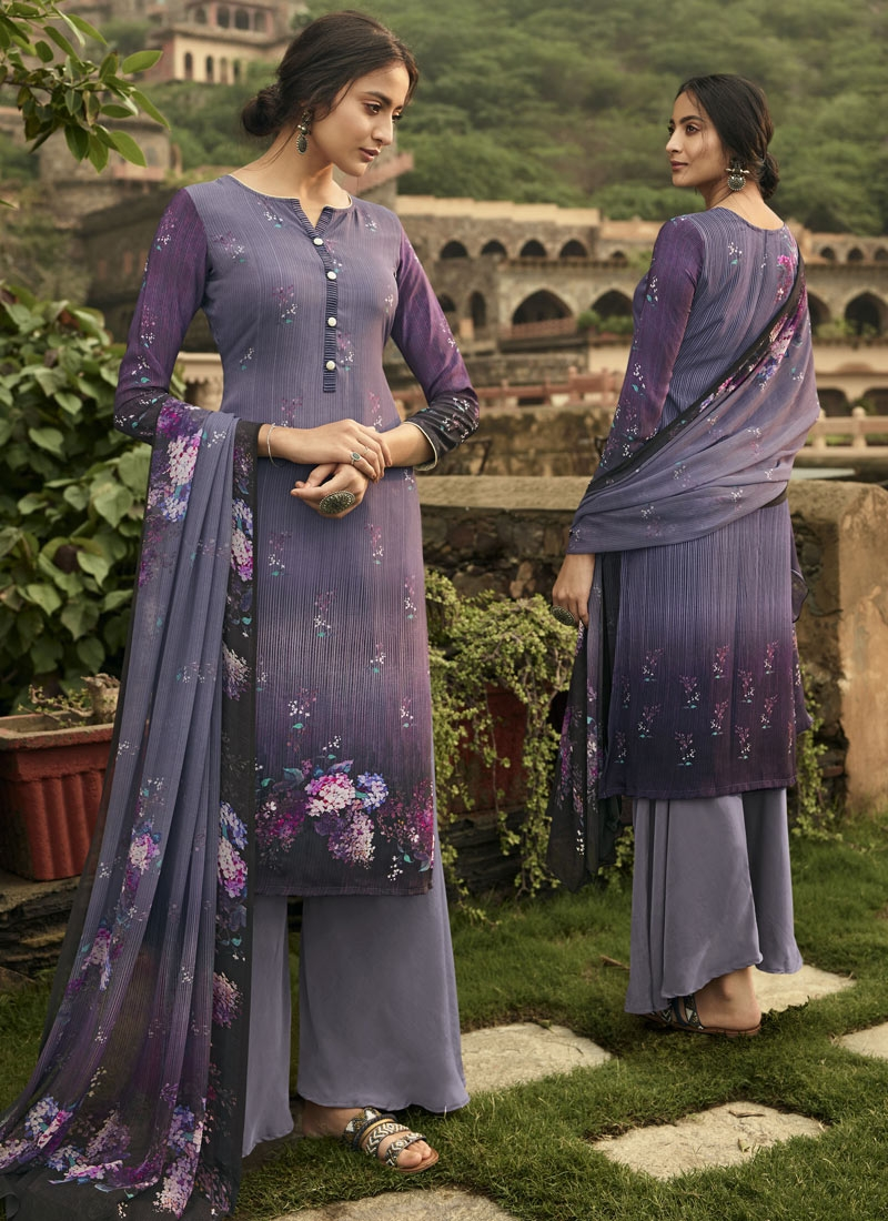 Grey and Purple Crepe Silk Palazzo Style Pakistani Salwar Kameez For Festival