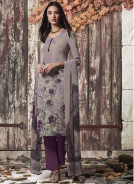 Grey and Purple Pant Style Classic Salwar Suit