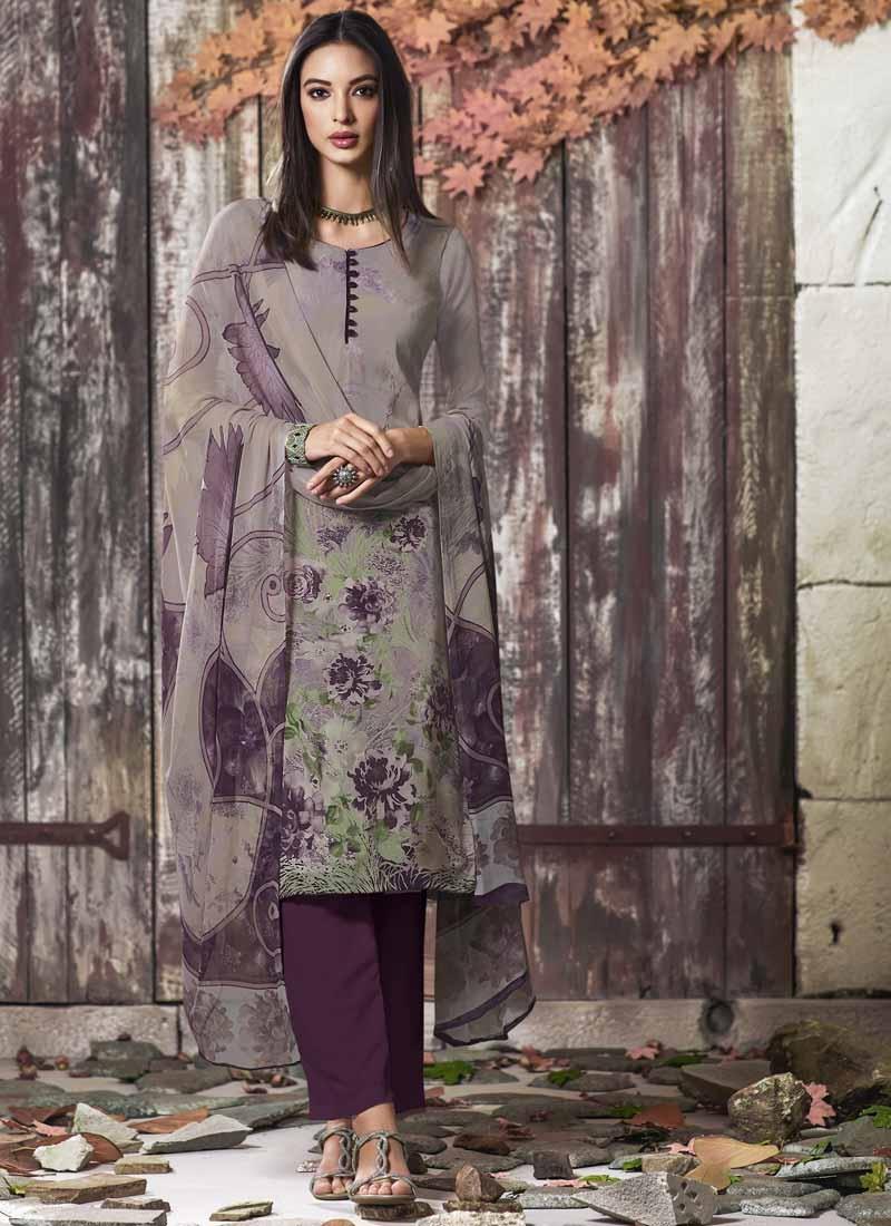 Grey and Purple Pant Style Salwar Kameez
