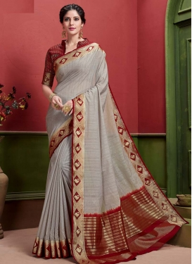 Grey and Red Art Silk Trendy Classic Saree