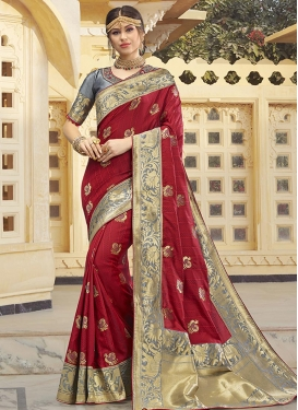 Grey and Red Banarasi Silk Traditional Designer Saree