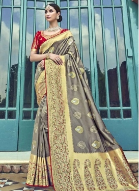 Grey and Red Banarasi Silk Traditional Saree