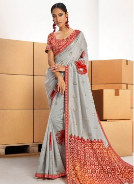 Grey and Red Chanderi Silk Contemporary Style Saree