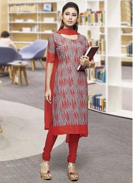 Grey and Red Churidar Salwar Kameez