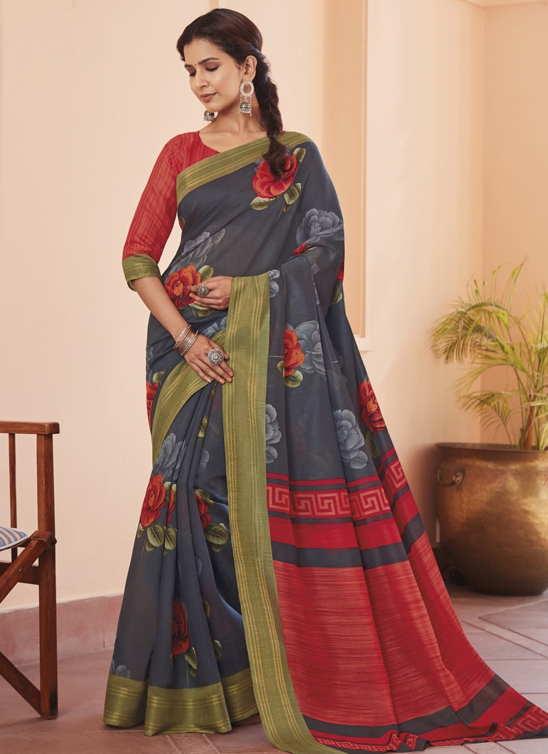 Grey and Red Contemporary Style Saree