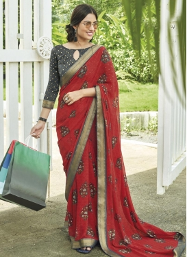 Grey and Red Digital Print Work Designer Traditional Saree