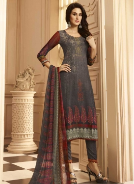 Grey and Red Digital Print Work Pant Style Salwar Kameez