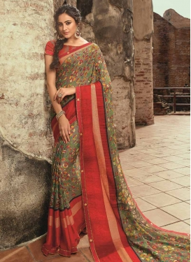Grey and Red Digital Print Work Trendy Classic Saree