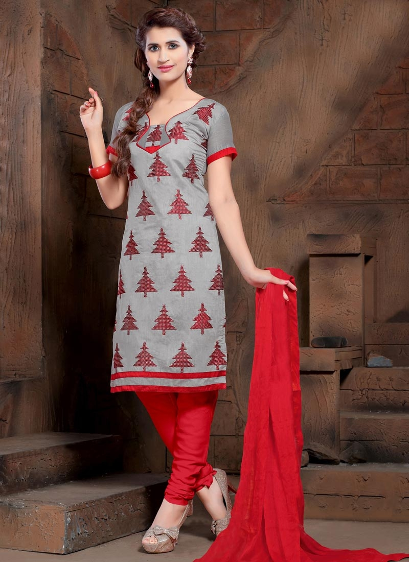 Grey and Red Embroidered Work Churidar Salwar Kameez