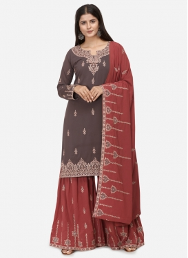 Grey and Red Embroidered Work Sharara Salwar Kameez