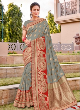 Grey and Red Lace Work Designer Contemporary Saree