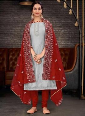Grey and Red Pakistani Straight Salwar Kameez