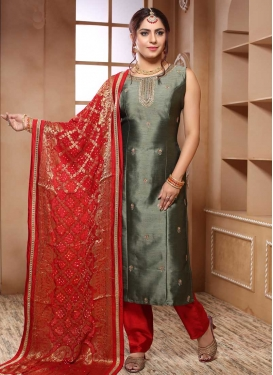 Grey and Red Readymade Salwar Suit