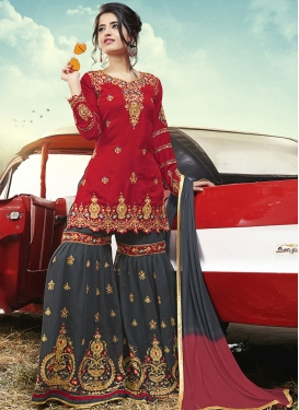 Grey and Red Satin Silk Sharara Salwar Kameez For Ceremonial