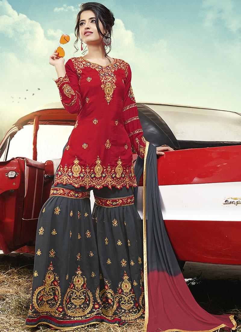 Grey and Red Satin Silk Sharara Salwar Kameez For Ceremonial