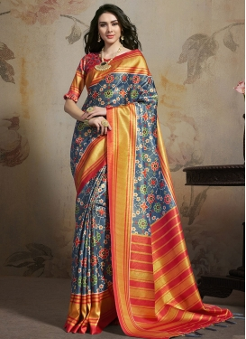 Grey and Red Satin Silk Trendy Classic Saree