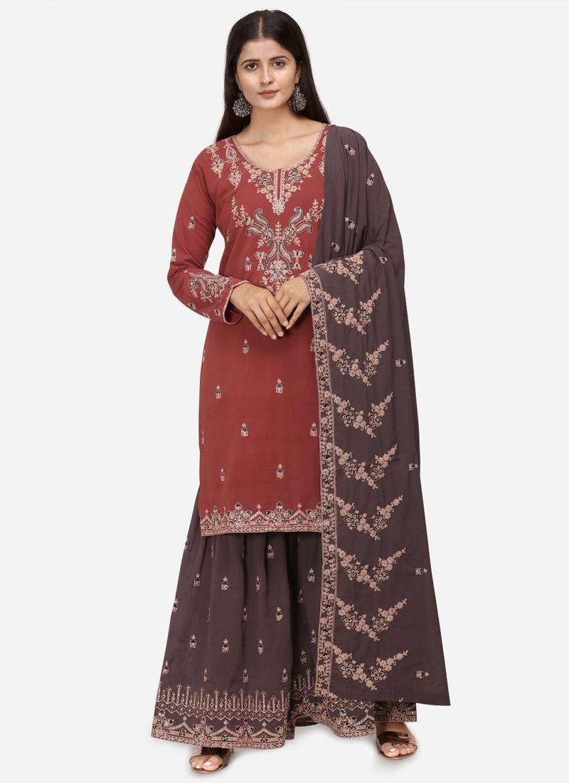Grey and Red Sharara Salwar Kameez