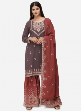 Grey and Red Sharara Salwar Kameez