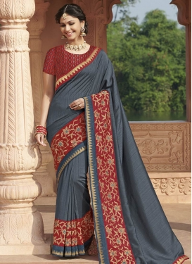 Grey and Red Silk Contemporary Style Saree For Ceremonial