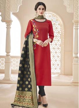 Grey and Red Trendy Churidar Salwar Kameez